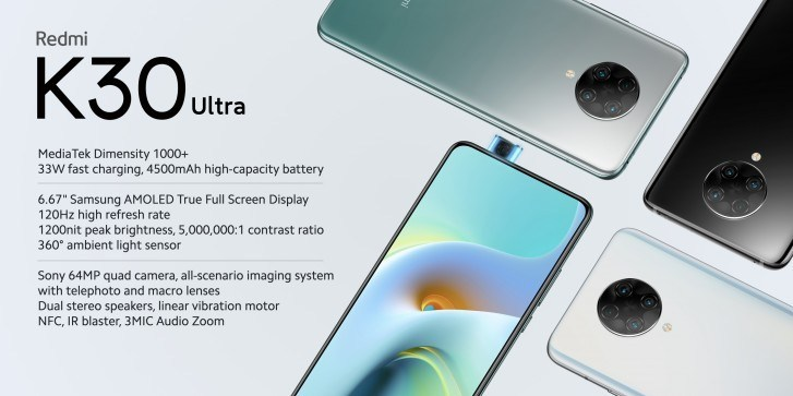 Redmi K30 Ultra smartphone presented: Dimensity 1000+ chipset, 120 Hz AMOLED display, NFC and price from $ 287