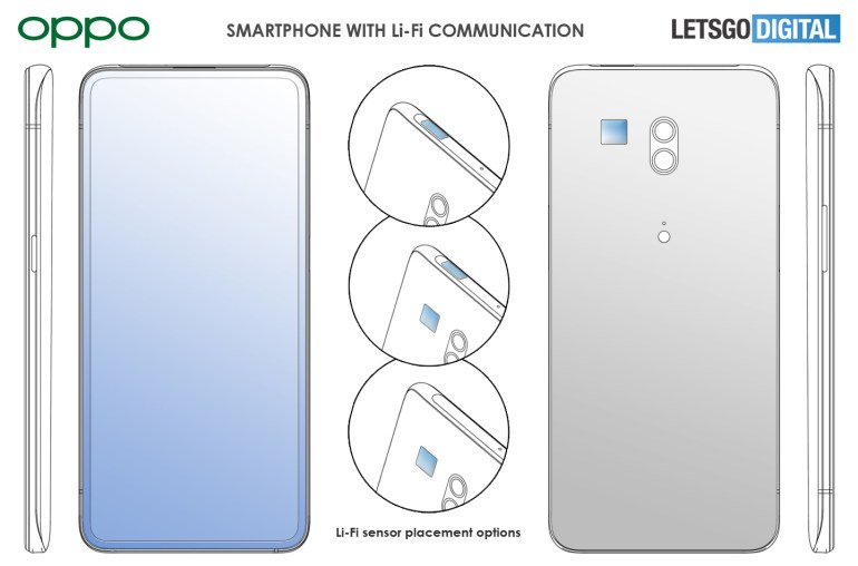 Oppo patents a smartphone with ultra-fast data transmission of visible light Li-Fi (up to 20 Gbps) TechRechard