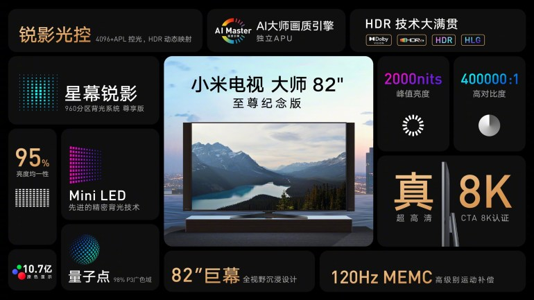 Xiaomi announces two 82-inch TVs with HDMI 2.1 and up to 8K resolution