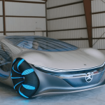 Mercedes-Benz showed live footage of driving a prototype of the futuristic Vision AVTR electric car, inspired by Cameron's Avatar