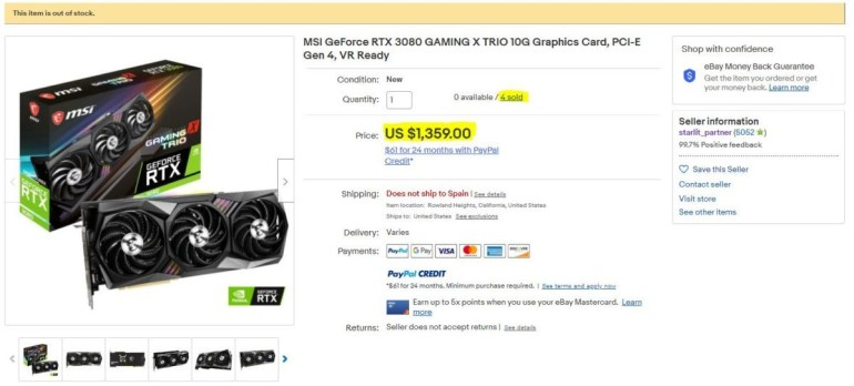 MSI accused of selling GeForce RTX 3080 graphics cards through eBay at an inflated price, the company says about a mistake and promises to return the money