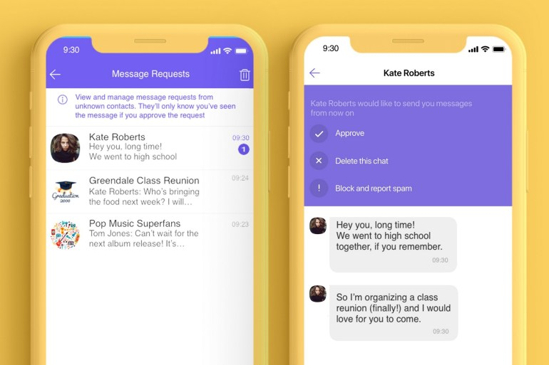 Viber has launched a new feature for grouping communication requests from unknown persons, which should help fight spam