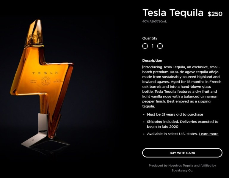 Tesla still released branded tequila - the entire first batch was sold out in a couple of hours