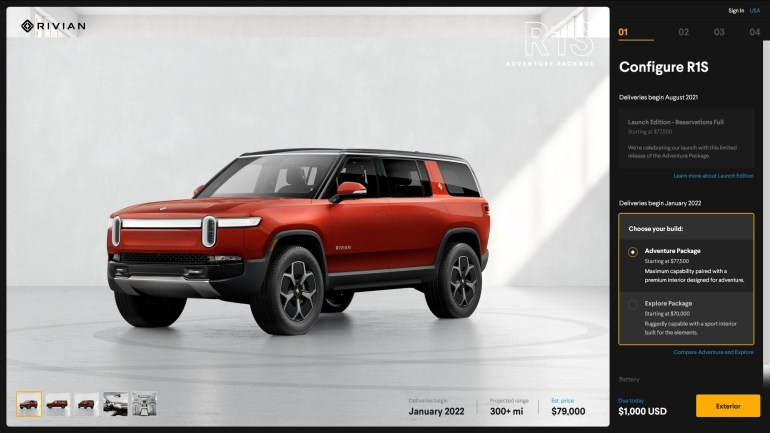 Rivian announces configurations, pricing and delivery times for R1S and R1T electric vehicles and says it is preparing smaller models for Europe and China