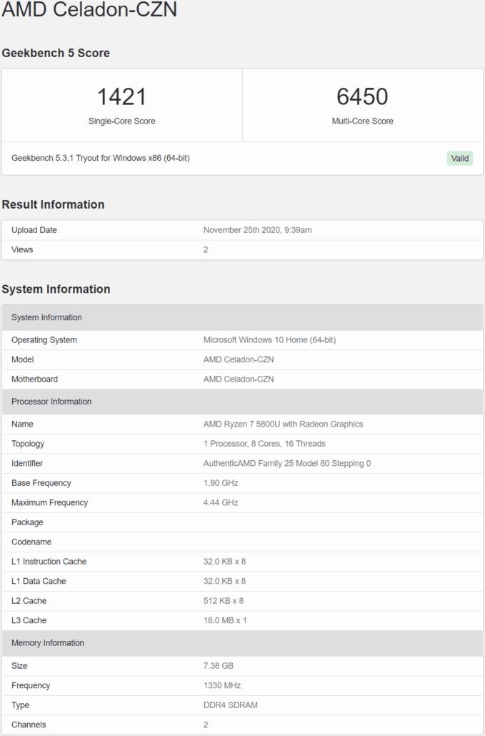 AMD Ryzen 7 5800U (Zen 3) Processor 38% Outperformed in Single Core Test