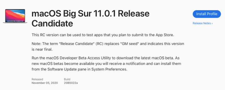 Updated iOS 14.2, iPadOS 14.2, watchOS 7.1 and macOS 11.0.1 Big Sur Release Candidate