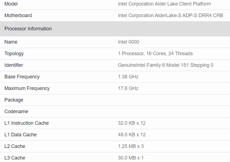 16-core Intel Alder Lake-S processor with 24 instruction threads spotted in Geekbench database: not impressive