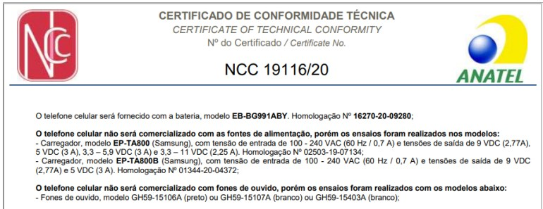 Galaxy S21 certified in Brazil - no charging adapter or headphone included