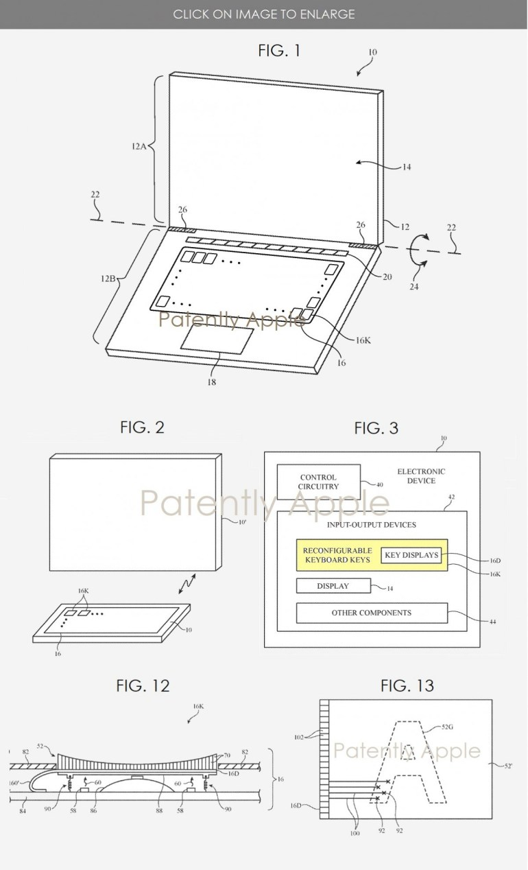 Apple patents a computer keyboard with customizable keys featuring tiny screens