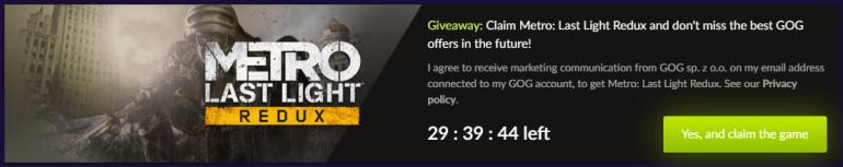Metro: Last Light Redux is giving away free on GOG