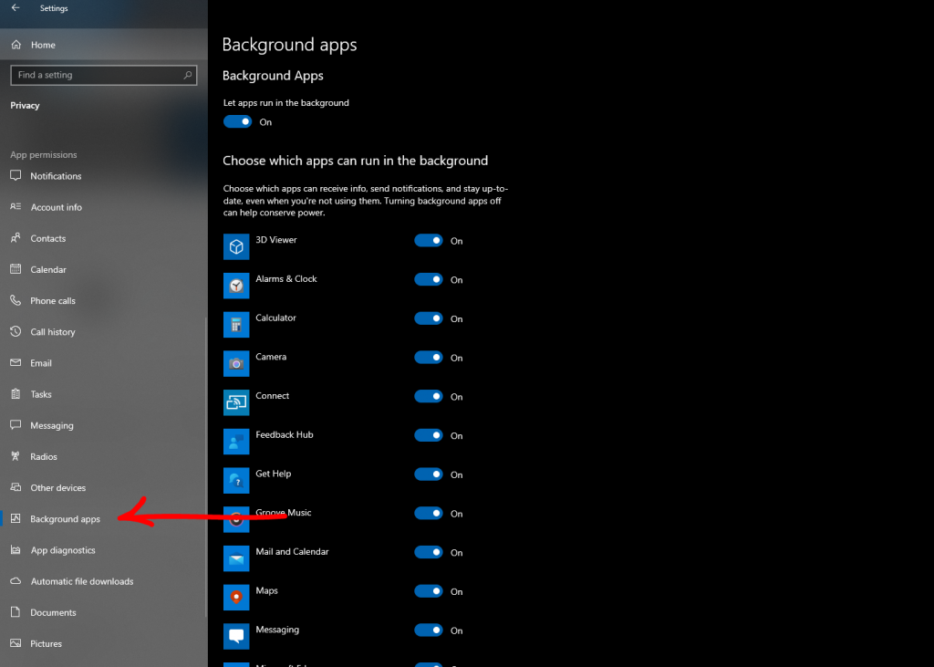 Speed Up Windows 10: Disable Background Apps