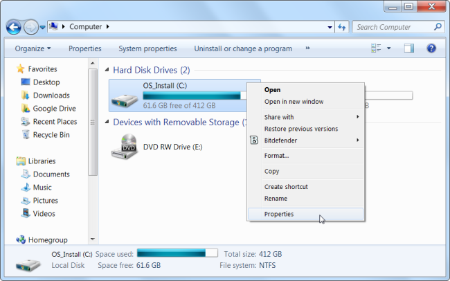 Disk Cleanup from the Start Menu