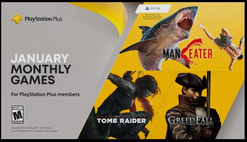 In January, PS Plus subscribers get Shadow of the Tomb Raider, Maneater and Greedfall TechRechard
