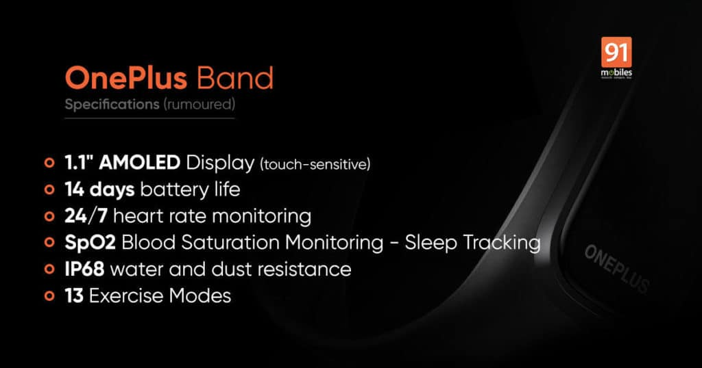 OnePlus Band fitness bracelet officially presented - AMOLED screen, SpO2, and 14-day autonomy.