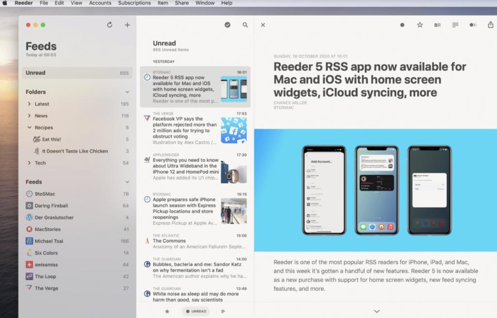 Best Widgets for macOS Big Sur- reeder