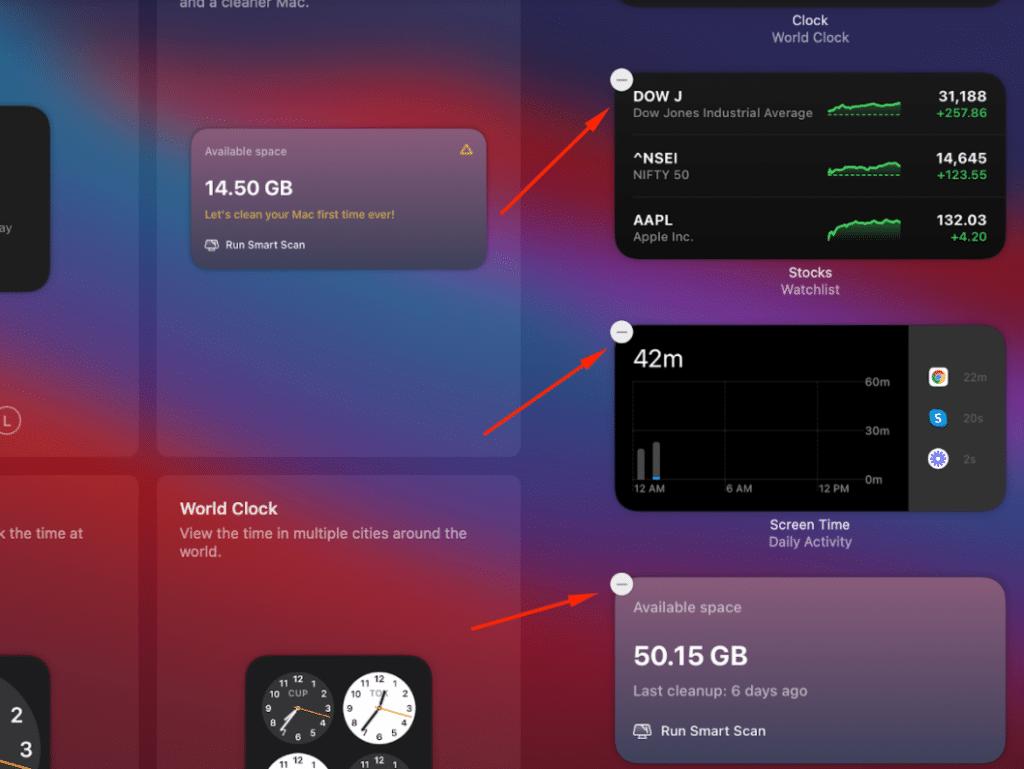 manage widgets on macOS Big Sur- removing widgets