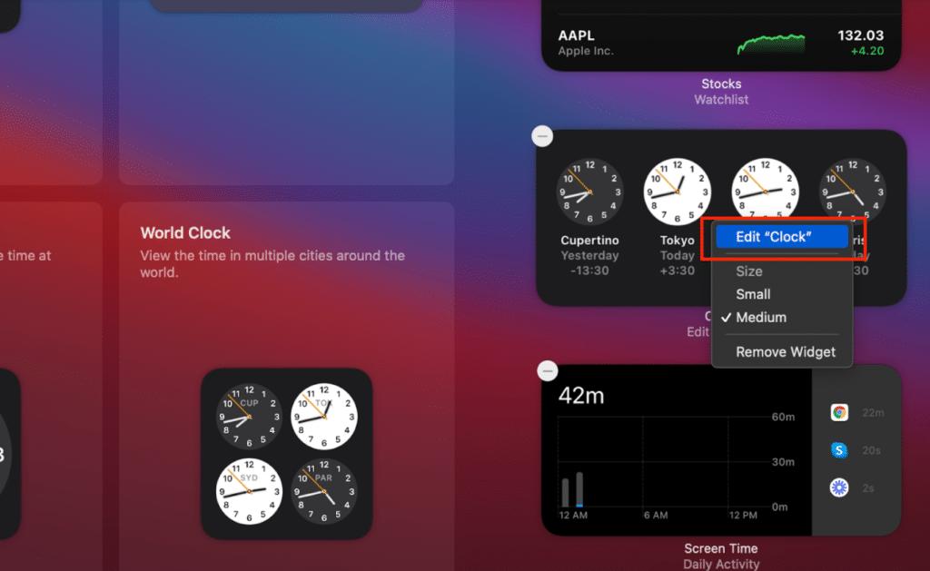 manage widgets on macOS Big Sur- editing single widgets