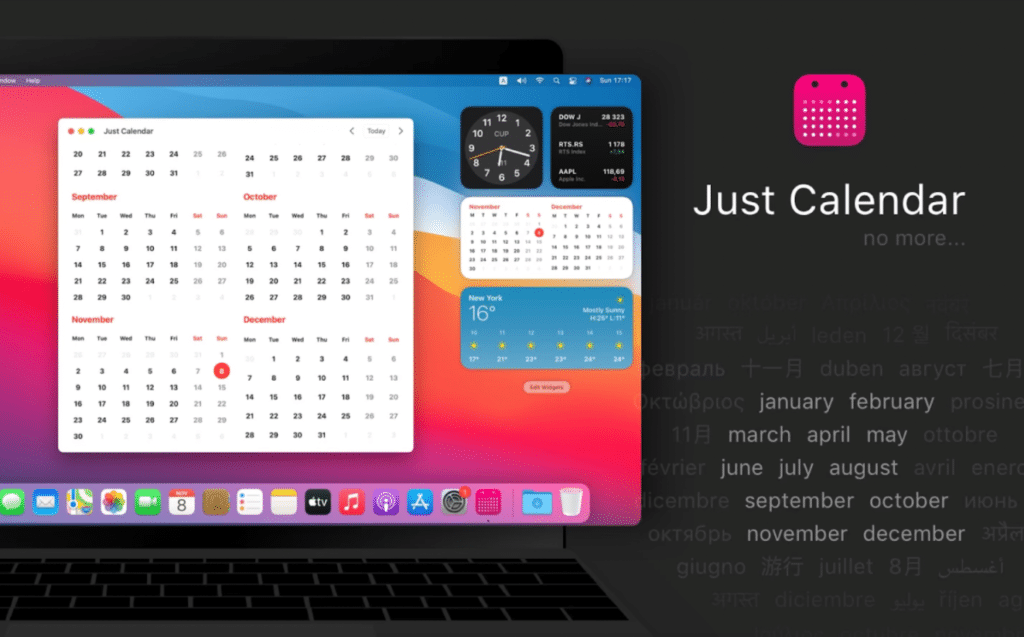 Best Widgets for macOS Big Sur- just calendar