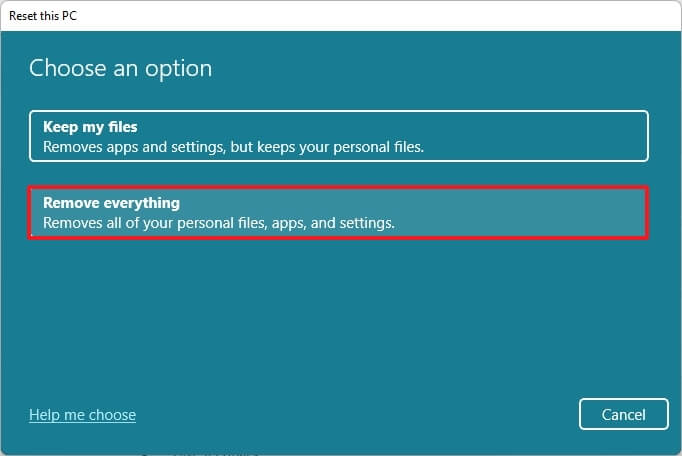 Clean install Windows 11 using Reset this PC Cloud download